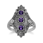 Art Nouveau Style Amethyst Three Stone Ring Image 1