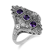 Art Nouveau Style Amethyst Three Stone Ring Image 2