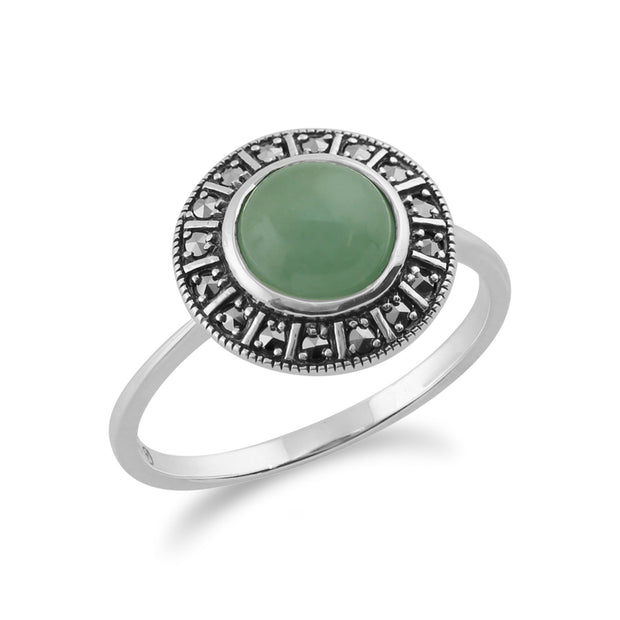 Art Deco Style Green Jade & Marcasite Halo Ring Image 2
