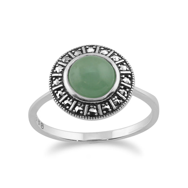 Art Deco Style Green Jade & Marcasite Halo Ring Image 1
