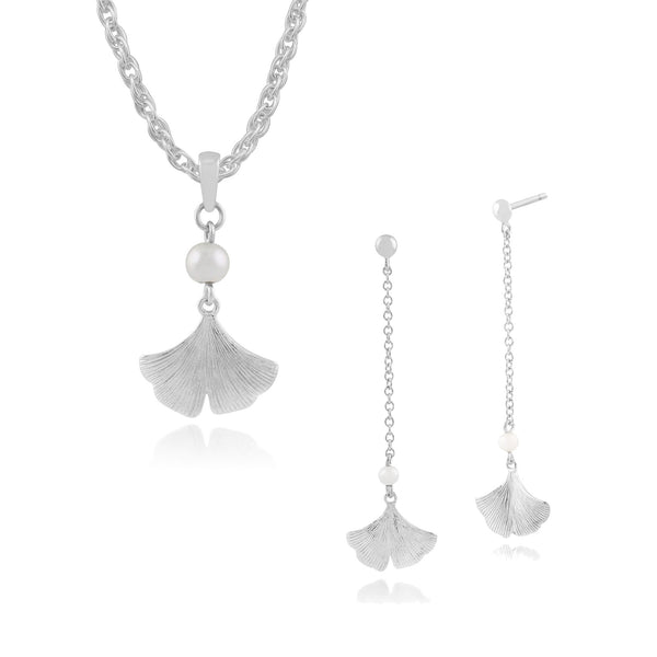 Floral Pearl Ginkgo Leaf Drop Earrings & Pendant Set Image 1