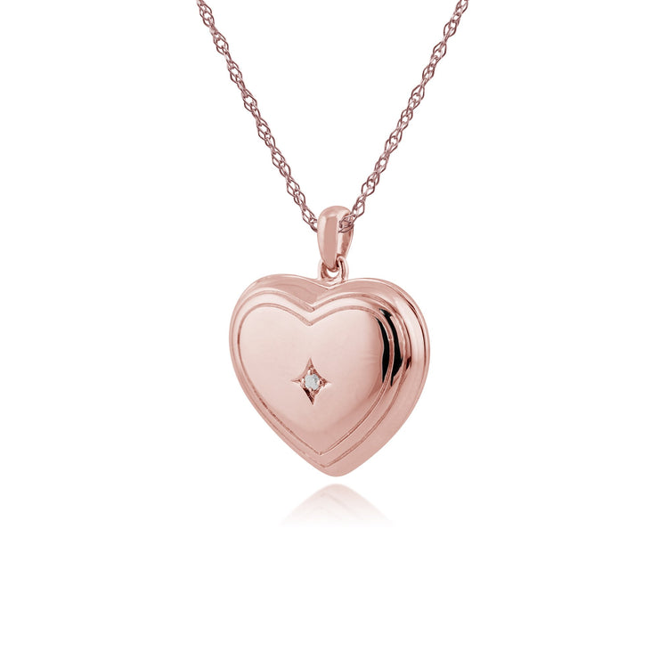 Classic Diamond Rose Gold Plated Heart Locket Image 2