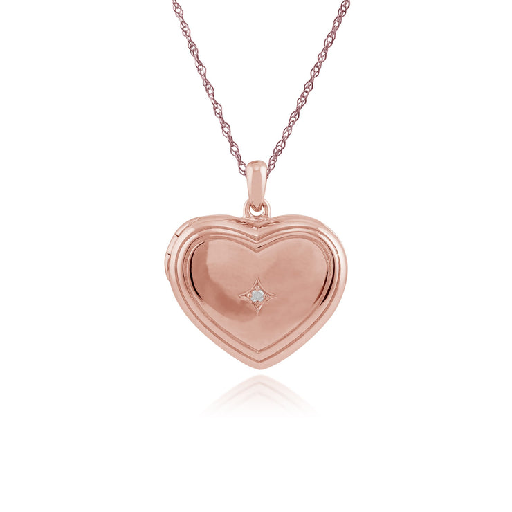 Classic Diamond Rose Gold Plated Heart Locket Image 1