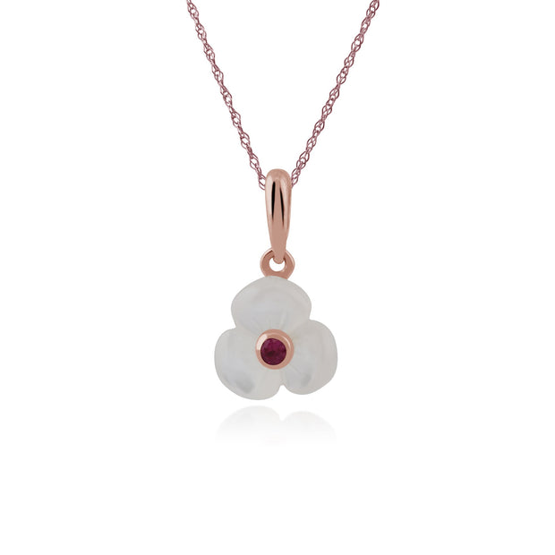 Floral Ruby & Mother of Pearl Poppy Pendant & Ring Set Image 2