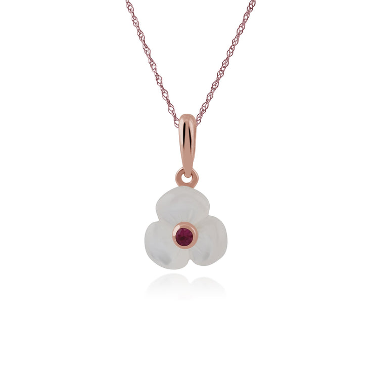 Floral Mother of Pearl & Ruby Pendant Image 1