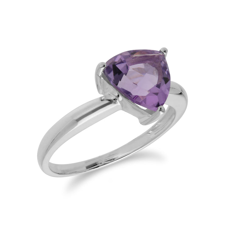 Geometric Amethyst Triangle Ring Image 2