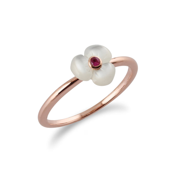 Floral Mother of Pearl Poppy Ring Image 2