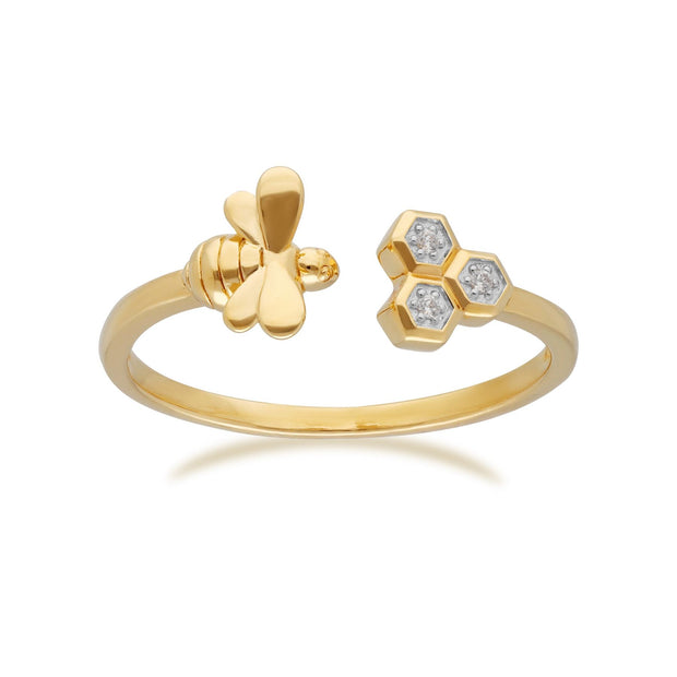 Honeycomb Inspired Diamond Trilogy Bee Ring in 9ct Yellow Gold