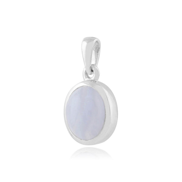 Classic Blue Lace Agate Oval Pendant Image 2