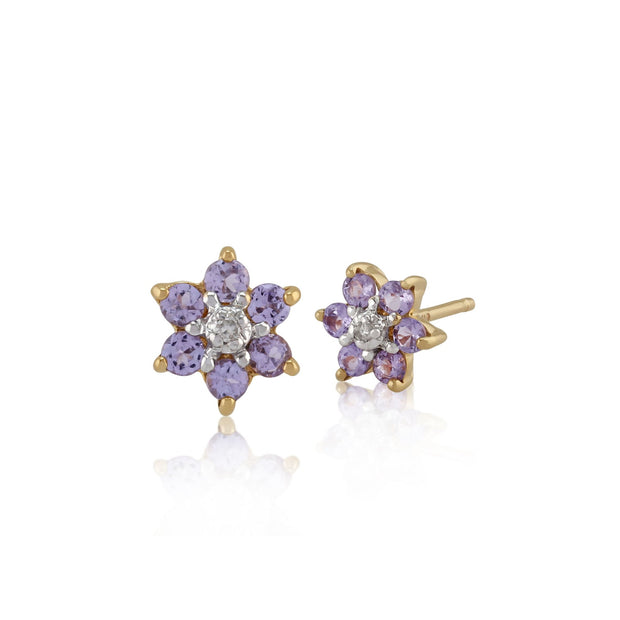 Floral Round Tanzanite & Diamond Cluster Stud Earrings in 9ct Yellow Gold