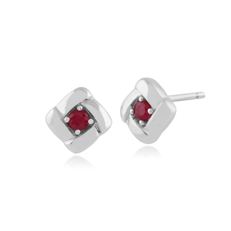Classic Round Ruby Square Crossover Stud Earrings in 925 Sterling Silver