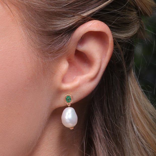 Modern Baroque Pearl & Emerald Drop Earrings in Rose Gold Plated Sterling Silve