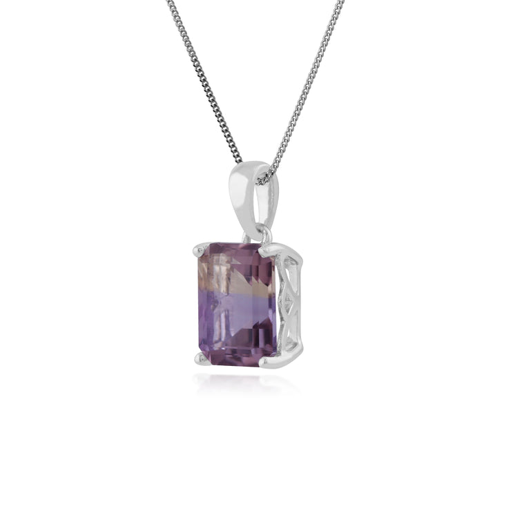 Classic Octagon Ametrine Claw Set Pendant in 925 Sterling Silver