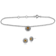 Floral Citrine Daisy Stud Earrings & Bracelet Set Image 1