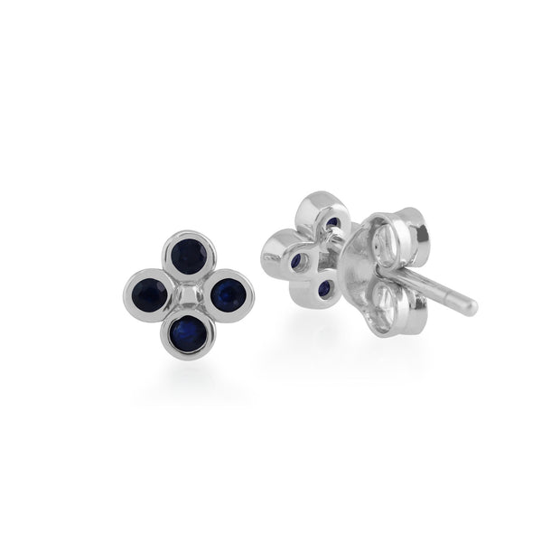 Floral Sapphire Clover Stud Earrings Image 2