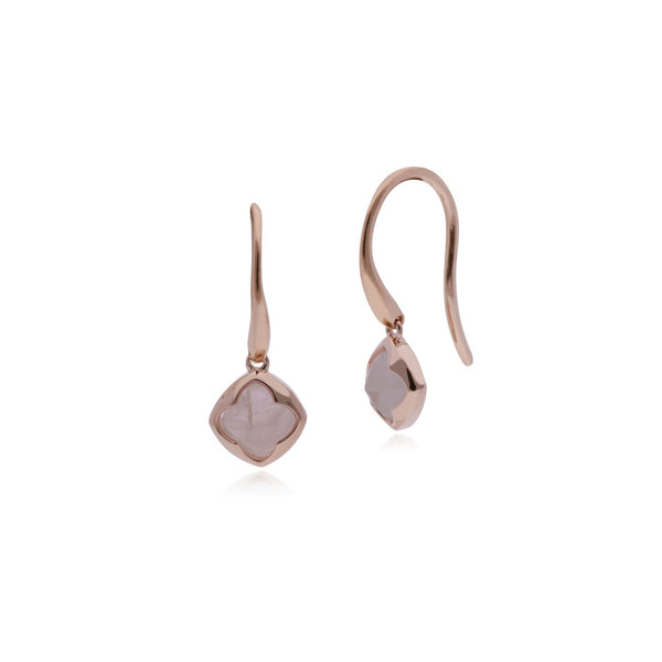 Rose Gold Plated Rose Quartz Drop Earrings Image 1