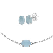 Classic  Milky Aquamarine Stud Earrings & Bracelet Set Image 1