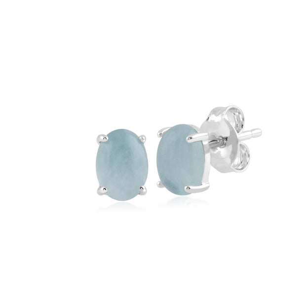 Classic  Milky Aquamarine Stud Earrings & Bracelet Set Image 2