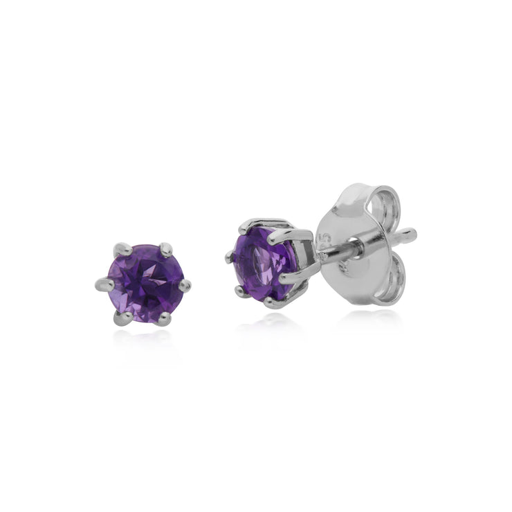 Classic Amethyst 6 Claw Stud Earrings Image 1