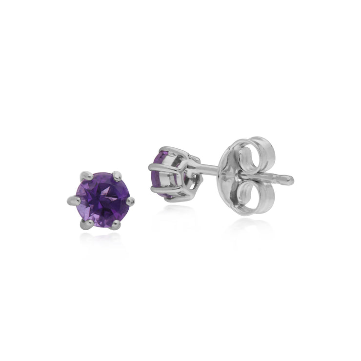 Classic Amethyst 6 Claw Stud Earrings Image 2