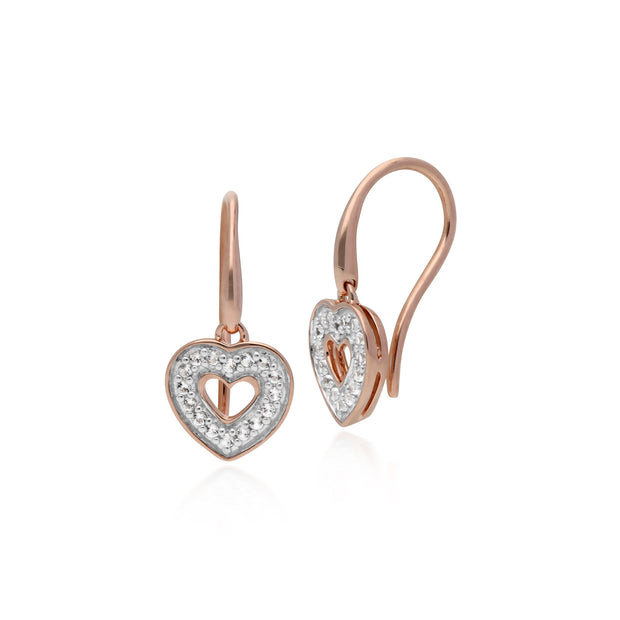 Classic Diamond Heart Fish Hook Earrings Image 1
