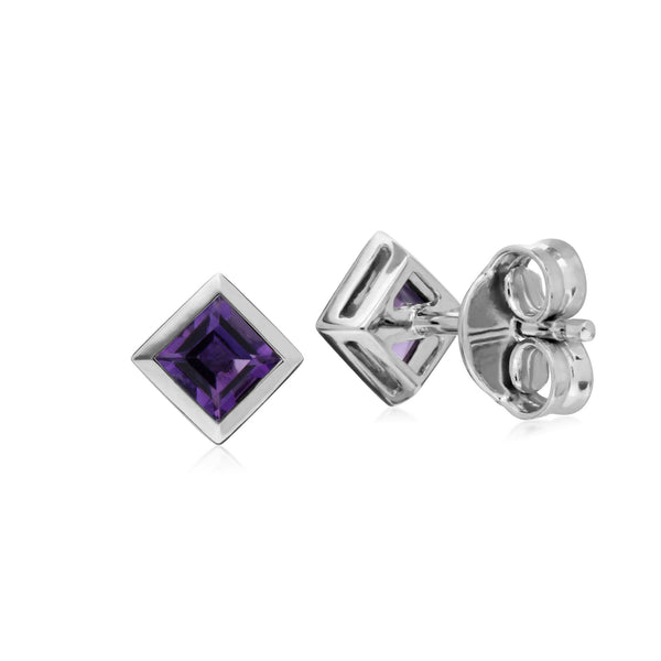 Geometric Square Amethyst Stud Earrings Image 2