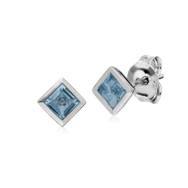 Geometric Square Blue Topaz Stud Earrings Image 1