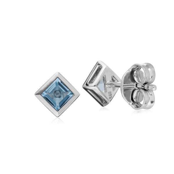 Geometric Square Blue Topaz Stud Earrings Image 2