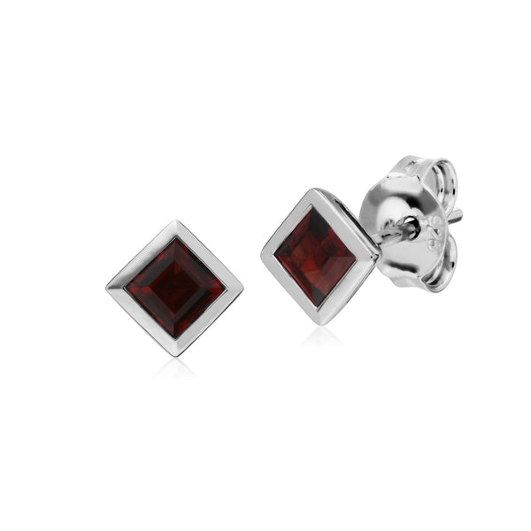 Geometric Square Garnet Stud Earrings Image 1