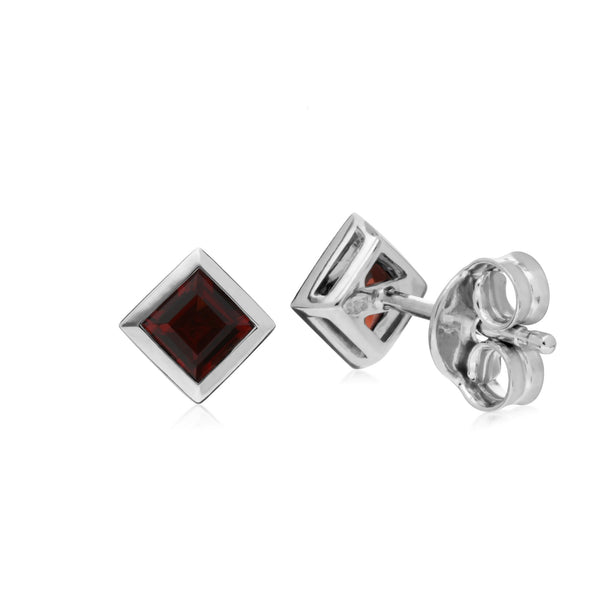 Geometric Square Garnet Stud Earrings Image 2
