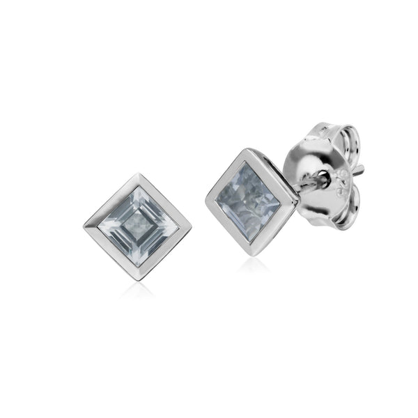 Geometric Square Clear Topaz Stud Earrings Image 1