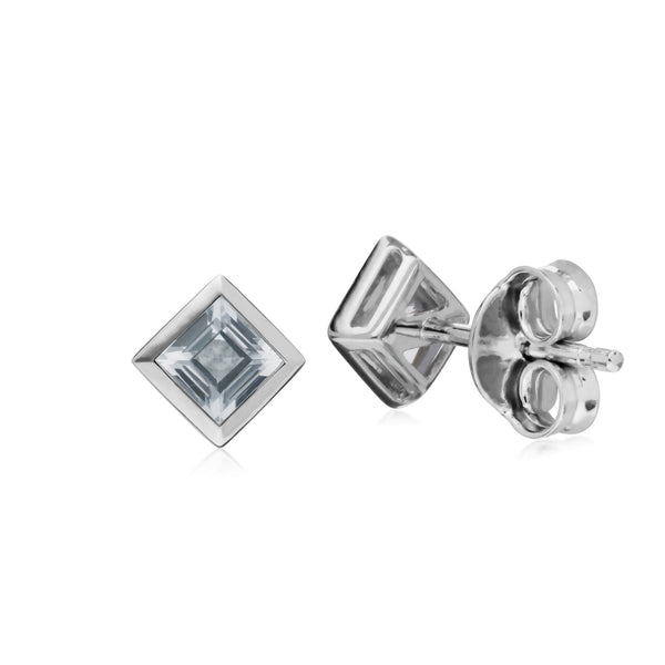 Geometric Square Clear Topaz Stud Earrings Image 2