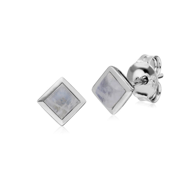 Geometric Square Rainbow Moonstone Stud Earrings Image 1