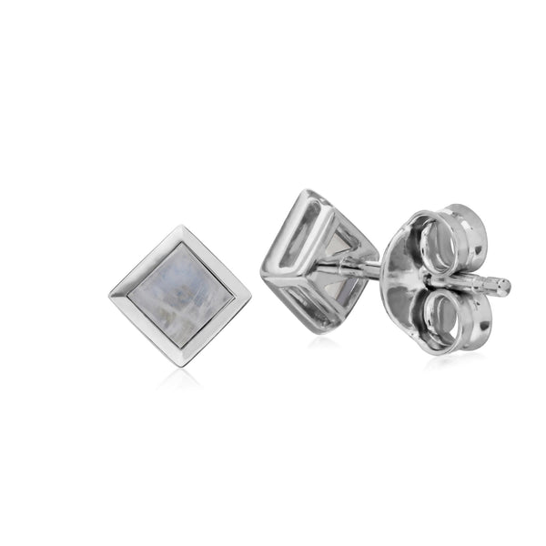 Geometric Square Rainbow Moonstone Stud Earrings Image 2