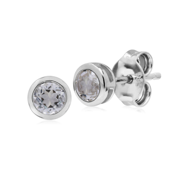 Geometric Round Clear Topaz Stud Earrings Image 1