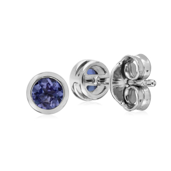 Geometric Round Amethyst Stud Earrings Image 2