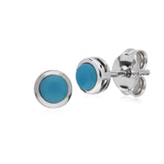 Geometric Round Turquoise Stud Earrings Image 1