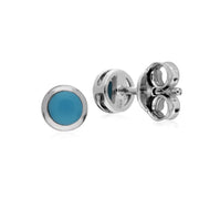 Geometric Round Turquoise Stud Earrings Image 2