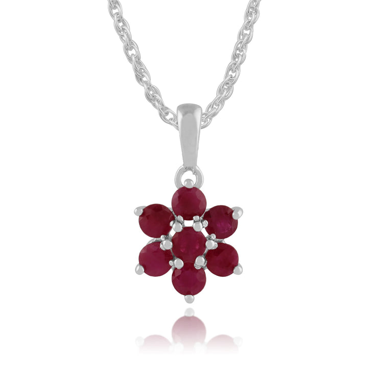 Floral Ruby Cluster Pendant on Chain Image 1