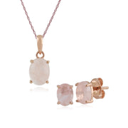 Classic Milky Morganite Stud Earrings & Necklace Set Image 1