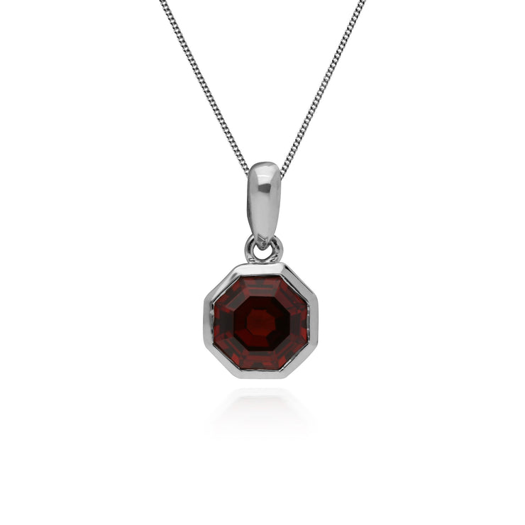 Geometric Octagon Garnet Pendant in 925 Sterling Silver