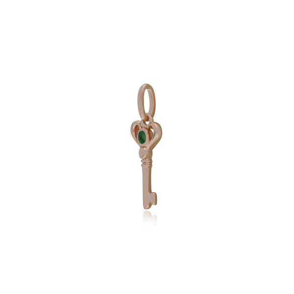 Emerald Rose Gold Key Charm Image 2
