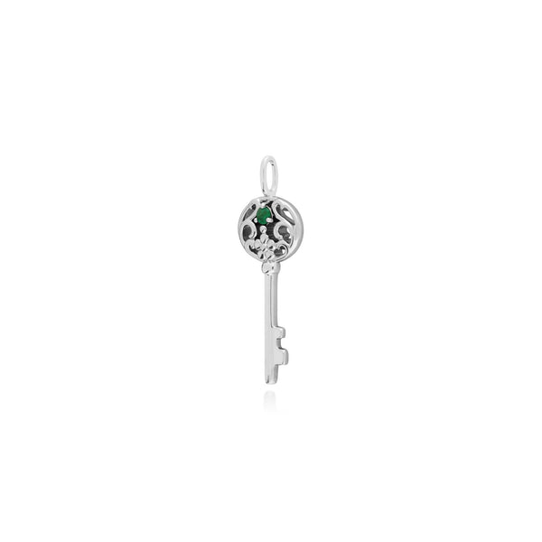 Emerald Silver Big Key Charm Image 2