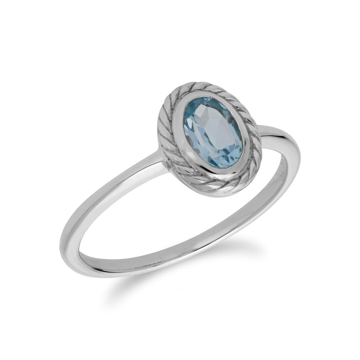 Classic Blue Topaz Rope Ring Image 2