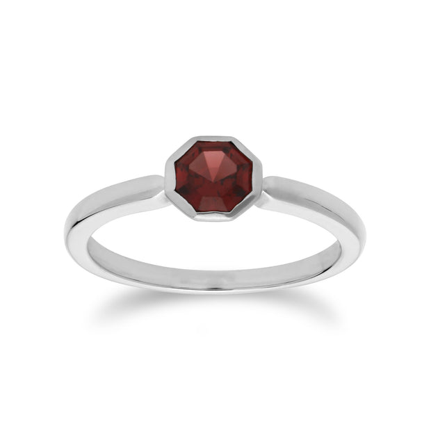 Geometric Hexagon Garnet Ring Image 1