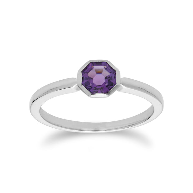 Geometric Hexagon Amethyst Ring Image 2