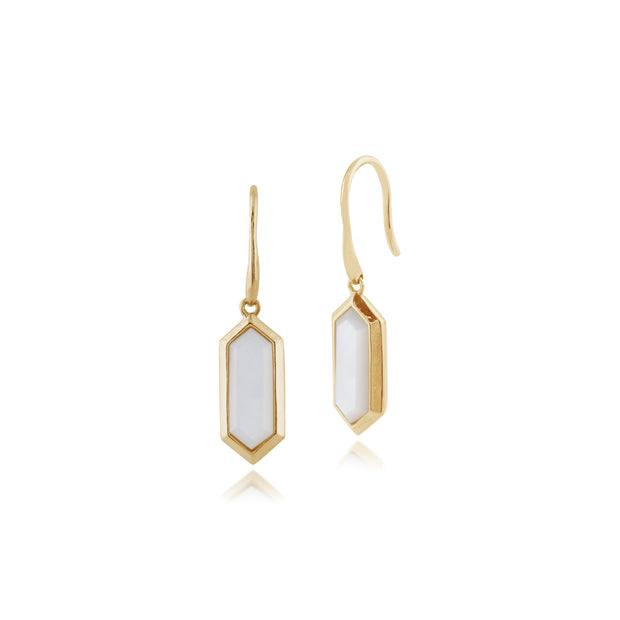 Gemondo 925 Gold Plated Silver 2ct Mother of Pearl Hexagonal Prism Drop Earrings Image