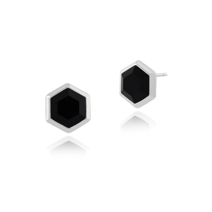 Geometric Black Onyx Hexagon Studs Earrings Image 1