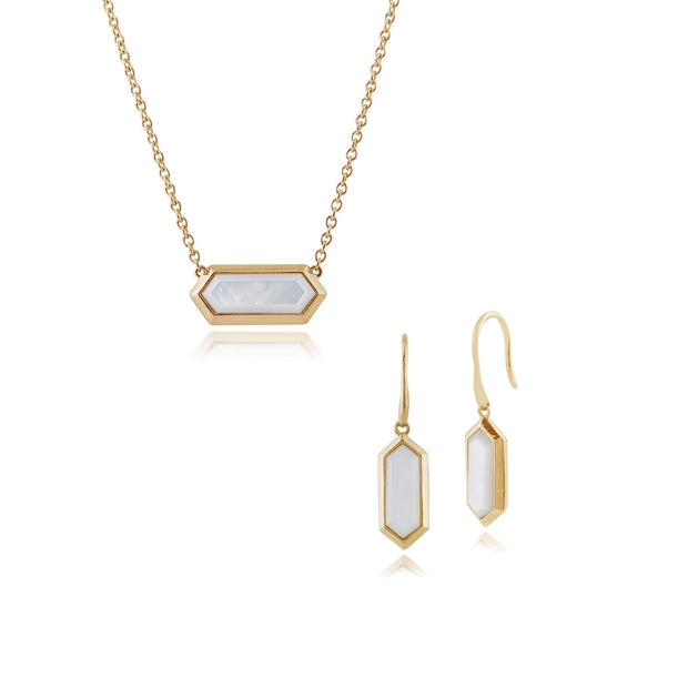 Geometric Mother of Pearl Prism Drop Earrings & Necklace Set in Image 1