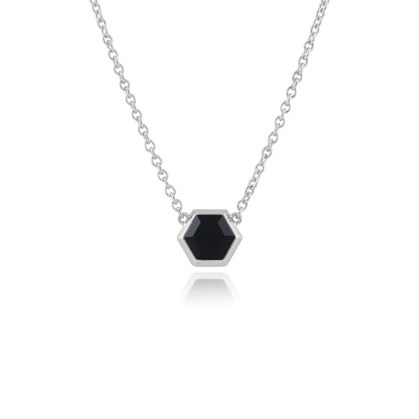 Geometric Black Onyx Hexagon Necklace Image 1
